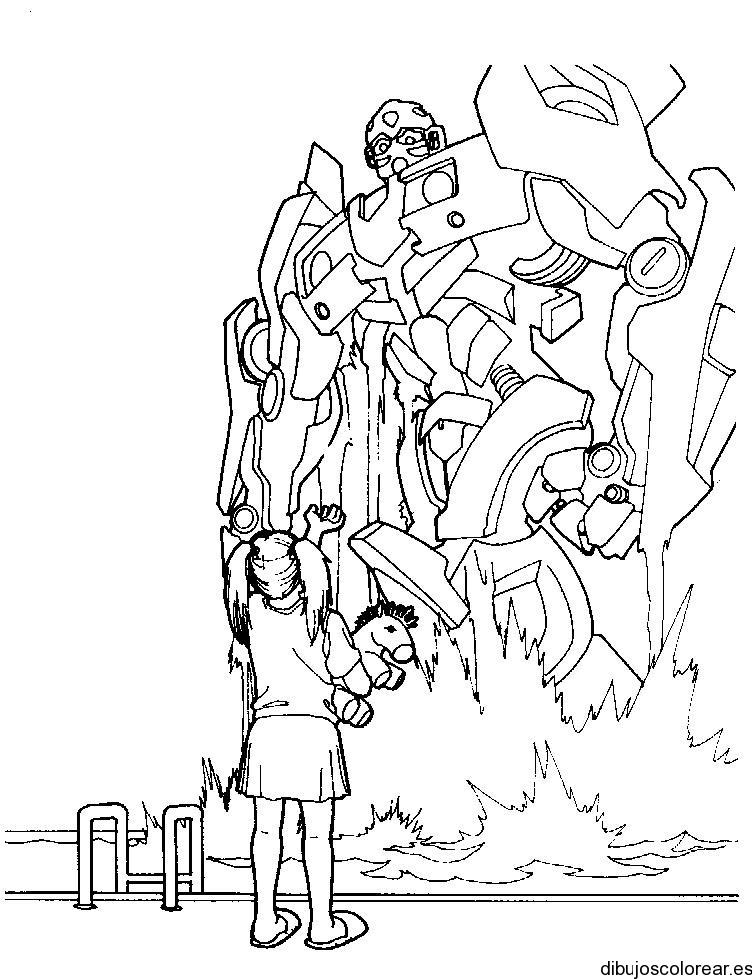 Dibujo De Una Niña Y Un Transformer
