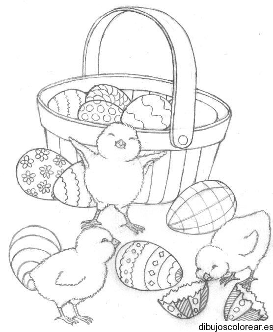 Dibujo de pollitos y huevos de pascua