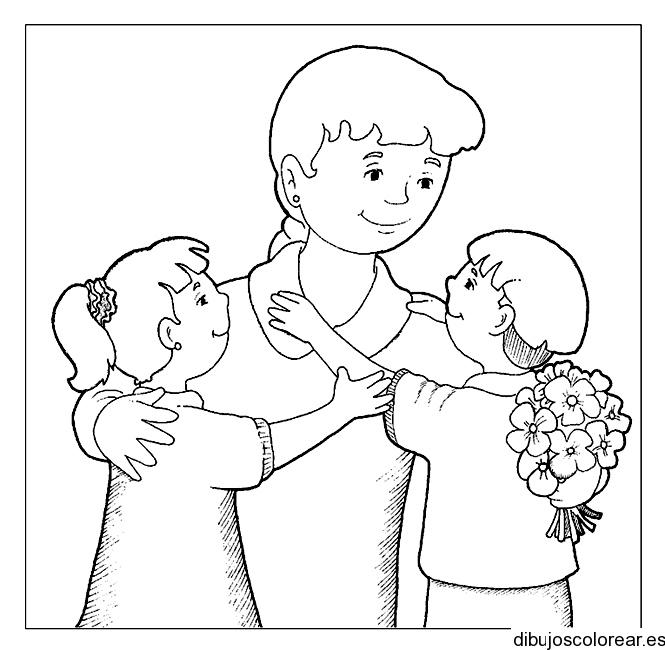 Dibujo de una madre con sus hijos