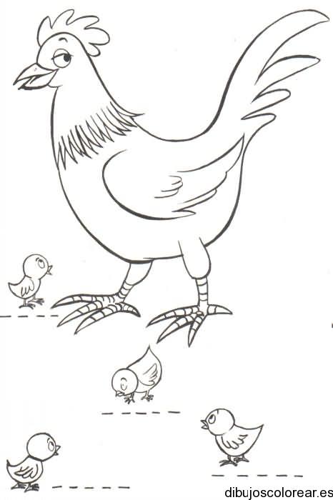 Dibujo de una gallina y un pollito