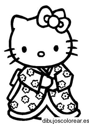 Dibujo de Hello Kitty con kimono  Dibujos para Colorear