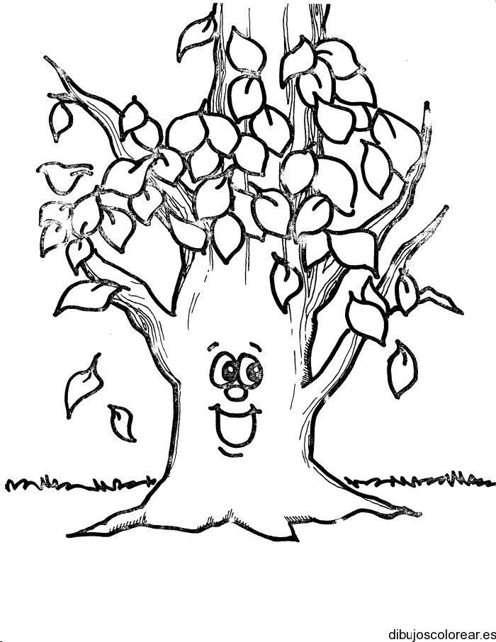 Dibujo de un rbol sonriente  Dibujos para Colorear