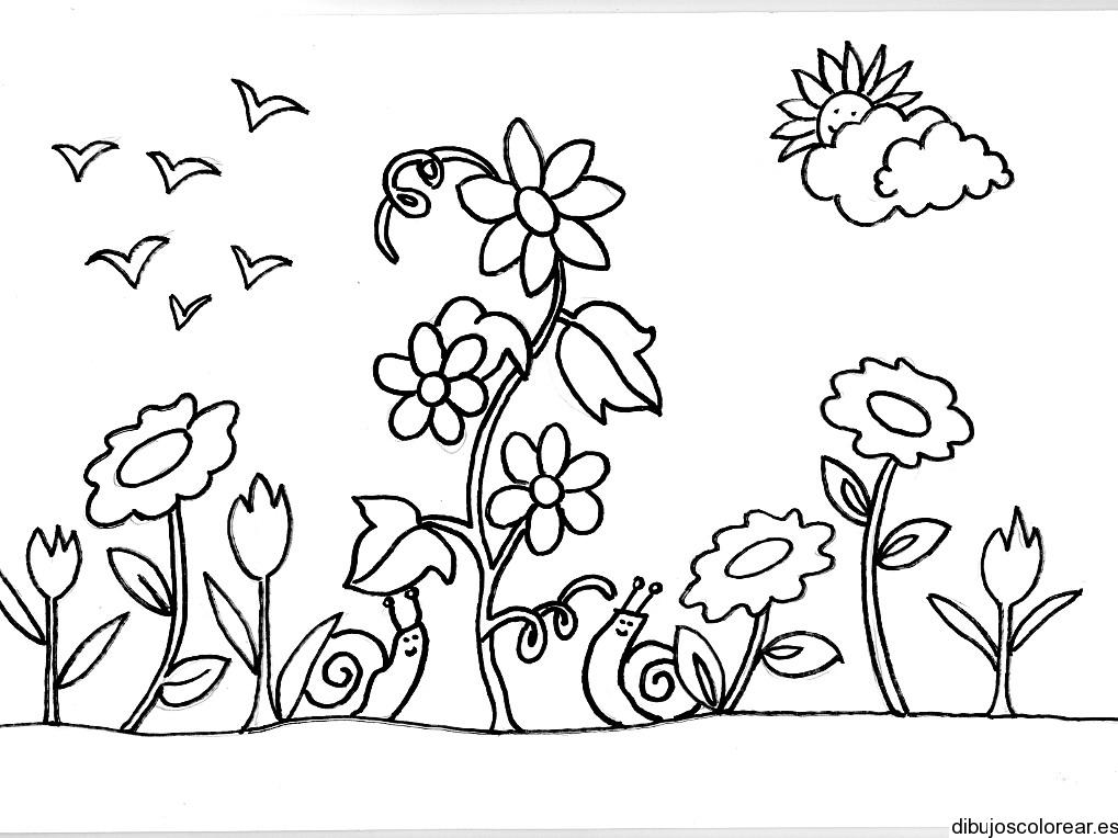 Dibujo de dos caracoles en el jardín