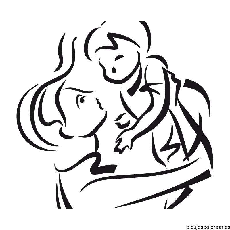Dibujo de una madre con un beb  Dibujos para Colorear