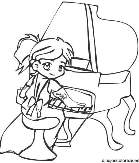 Niño para colorear tocando su piano - Imagui