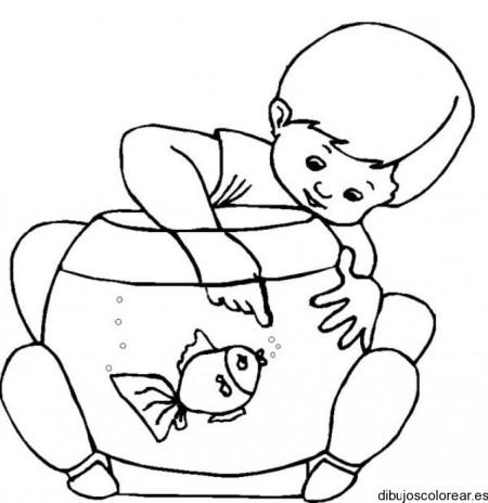 Dibujo de un niño y una pecera | Dibujos para Colorear