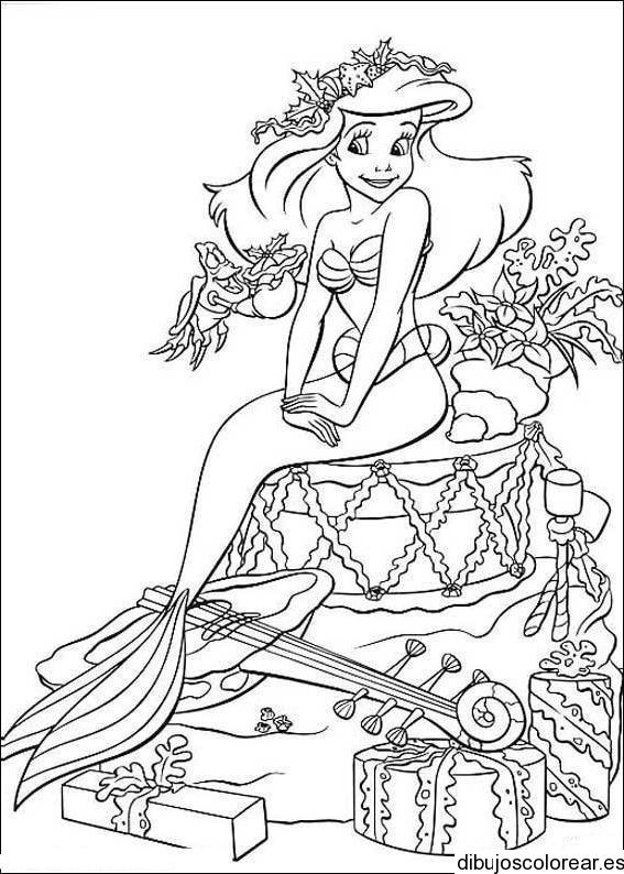 dibujo de sirenita con regalos