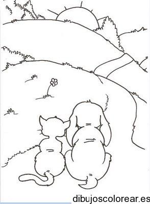 Dibujo de un perro y un gato en el camino  Dibujos para Colorear