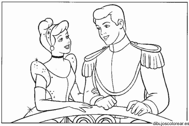 Dibujos De Principes Y Princesas Para Colorear: Dibujo De Cenicienta Con Su Príncipe