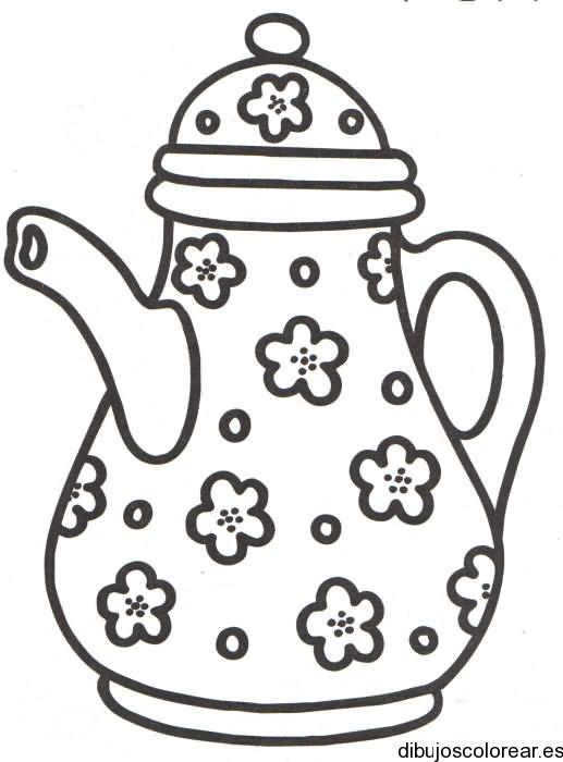 Dibujo de una tetera con flores - Dibujos de unas de porcelana ...