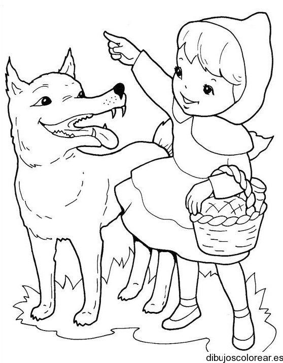 Dibujo De Caperuza Roja Y El Lobo
