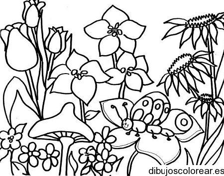 Dibujo de jardín de flores