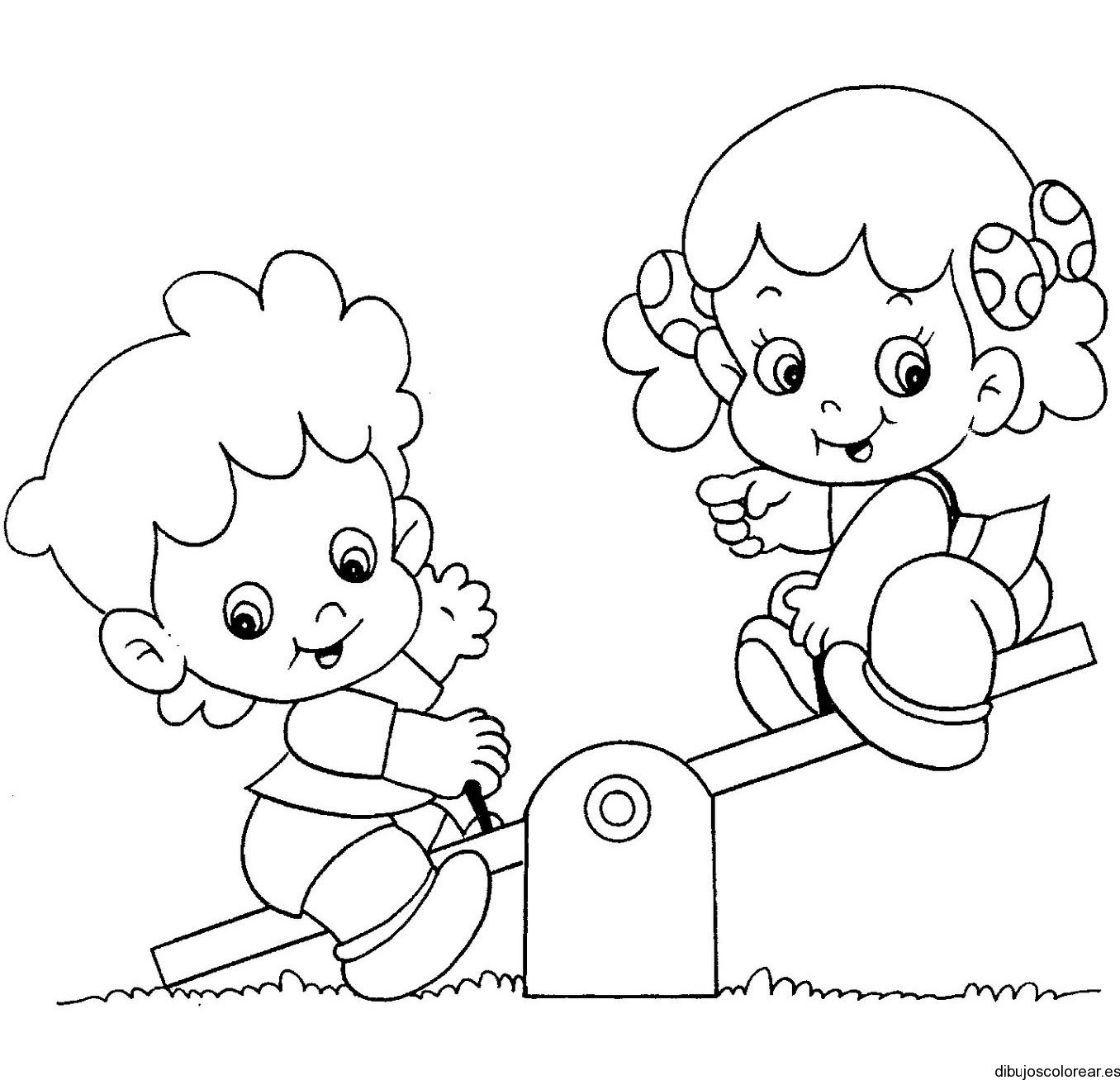Dibujo De Una Niña Y Un Niño En El Parque