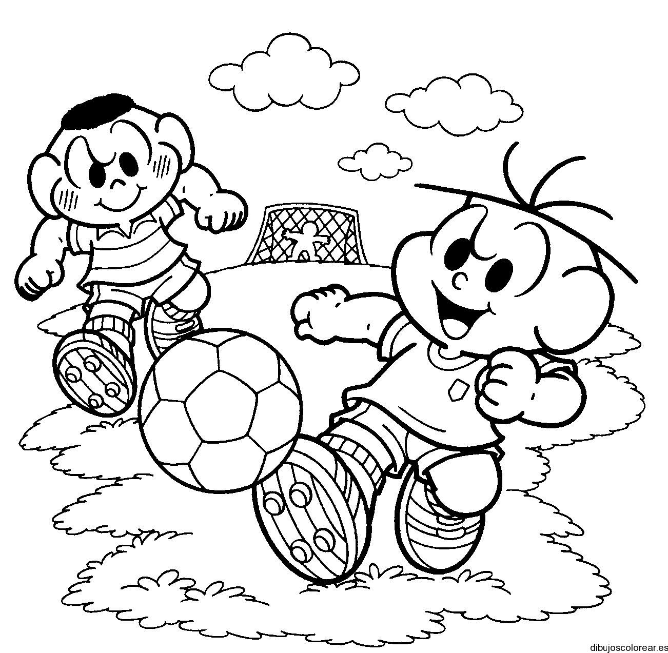 Dibujo de niños en el parque jugando a la pelota