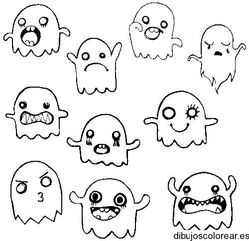 Dibujo De Un Fantasma Con Diferentes Sustos
