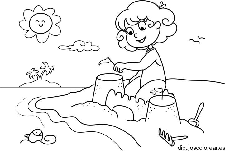 Dibujo de un niño jugando en la playa