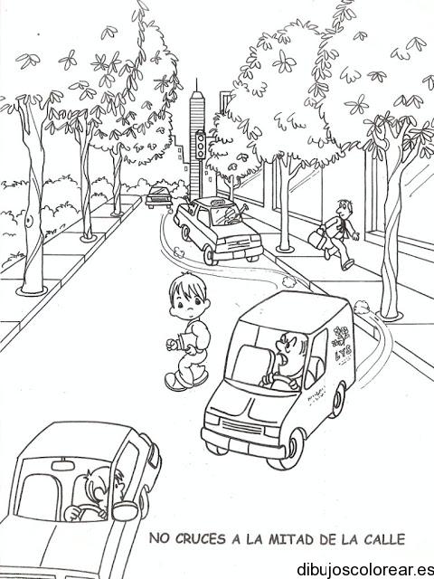 Dibujo De Un Niño Patinando En La Calle