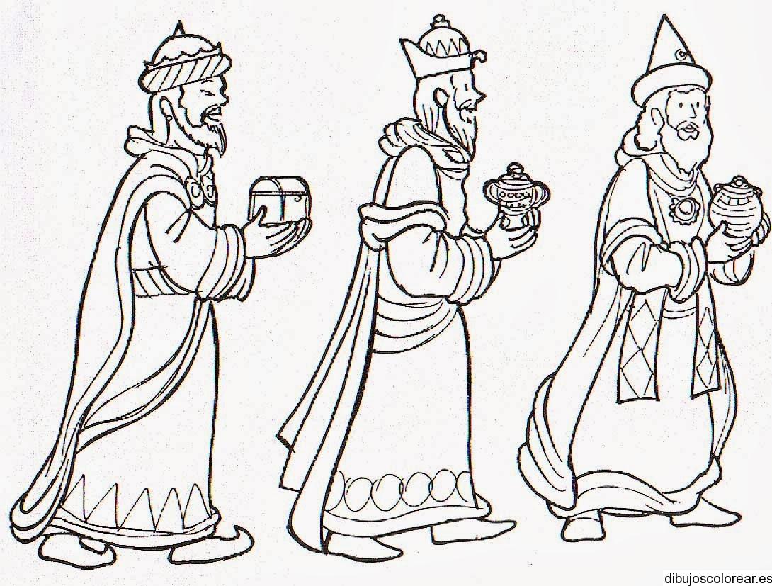 Imagenes Tres Reyes Magos Gratis.Dibujo De Los Tres Reyes Magos Con Un Regalo