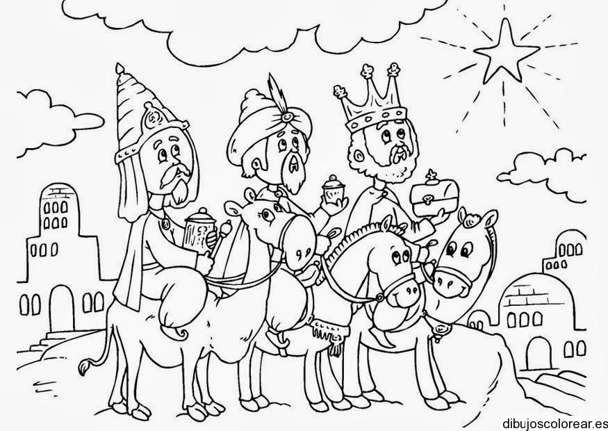 Imagenes Tres Reyes Magos Gratis.Dibujo De Los Reyes Magos Siguiendo La Estrella