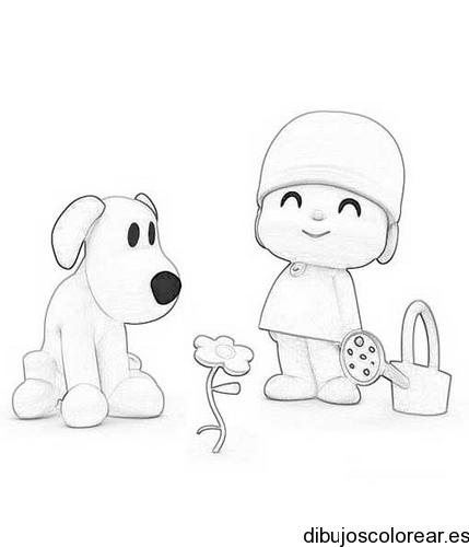 Dibujo De Un Niño Con Su Perro De Paseo
