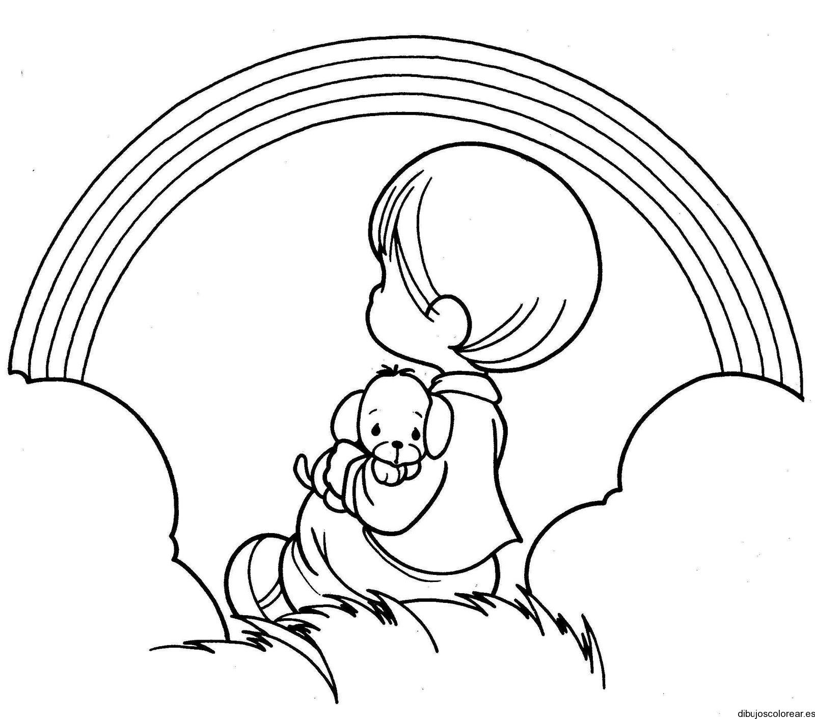 Dibujo De Un Niño Que Ve El Arcoiris