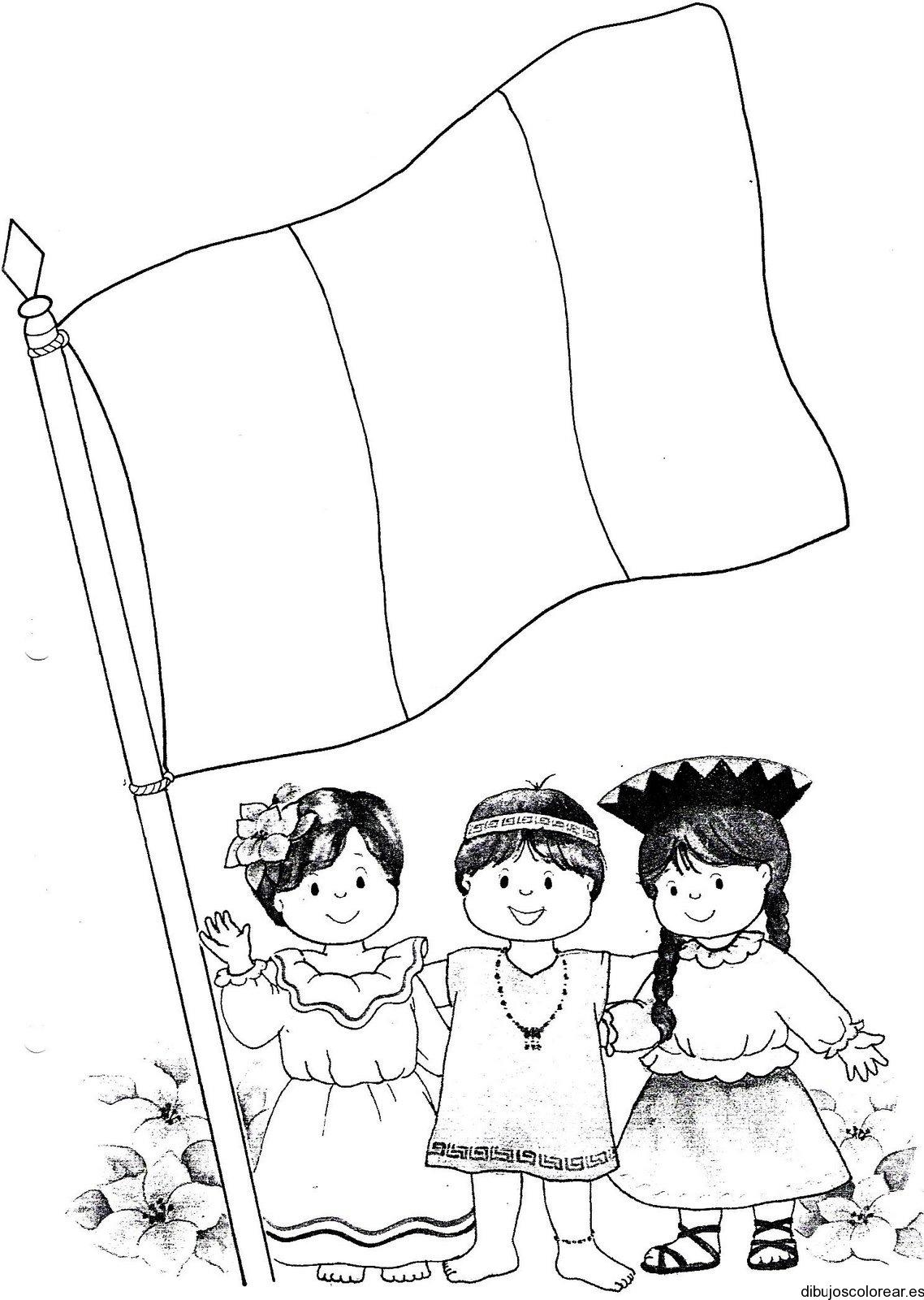Dibujo de la bandera en el asta