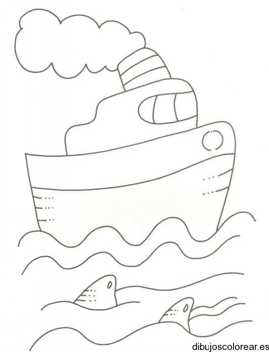 Dibujo de una isla y un barco