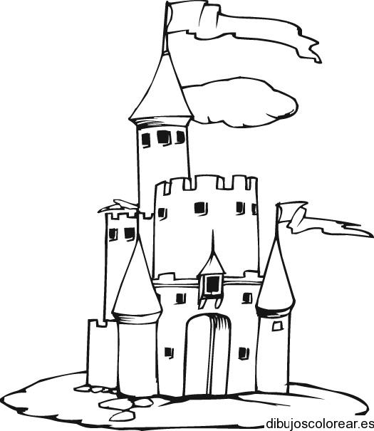 Dibujo de un caballero en el castillo