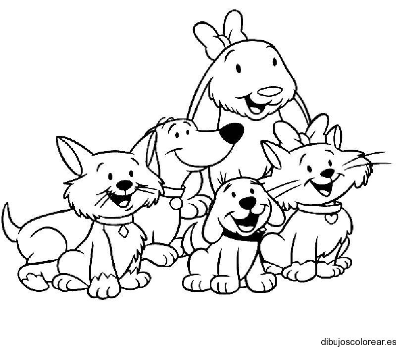 Dibujo de perros en una casita