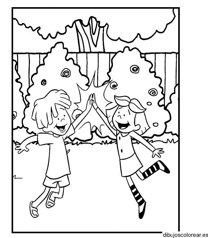Dibujo de niños en la casa del árbol