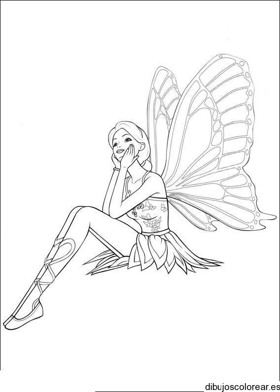 Dibujo de una hada volando