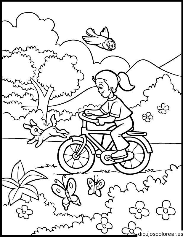 Dibujo De Niña En Bicicleta En El Parque