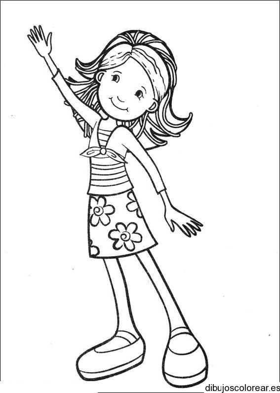 Dibujo De Una Niña Saludando