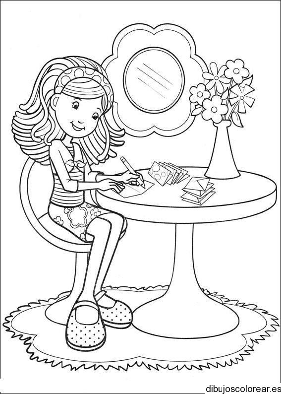 Dibujo De Una Niña Escribiendo