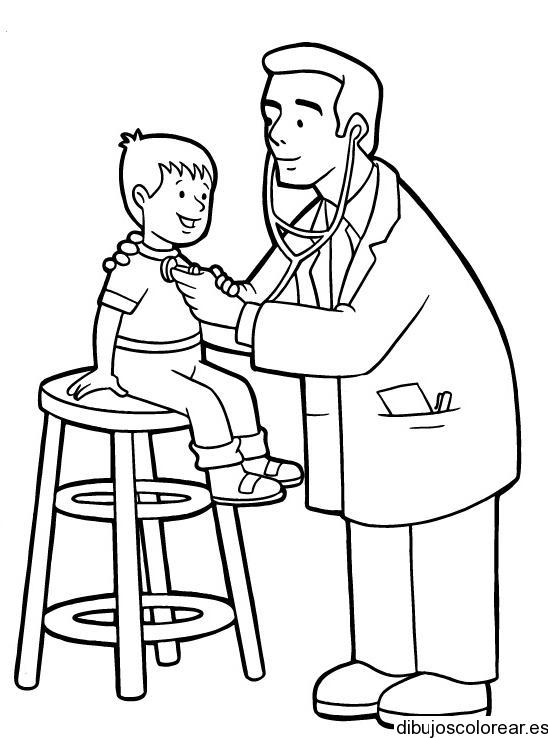 Dibujo De Un Niño Con El Doctor