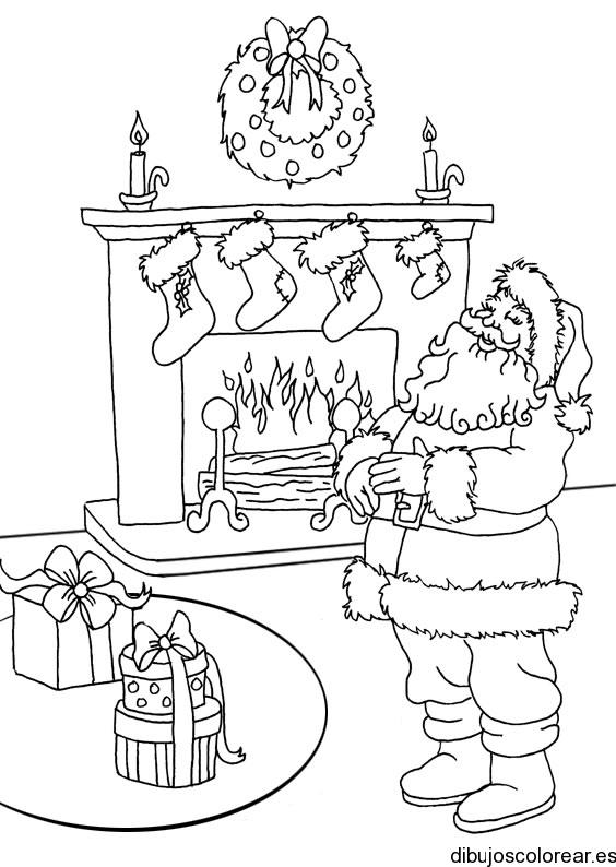 Dibujo de Santa Claus saliendo de chimenea
