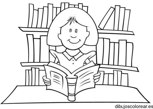 Dibujo De Una Niña Leyendo En Biblioteca