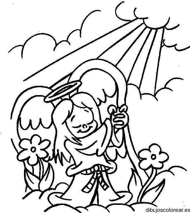 Dibujo De Un Angel Con Flores