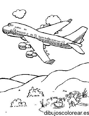 Dibujo De Un Avión Sobre Las Montañas