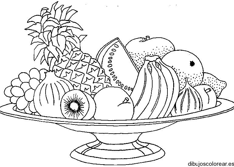 Dibujo de una fuente de frutas