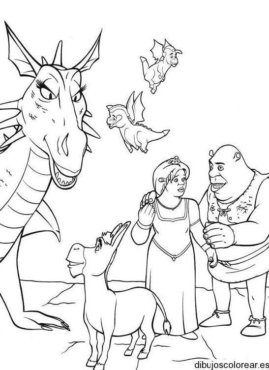 Dibujo de Fiona y Shrek con Burro