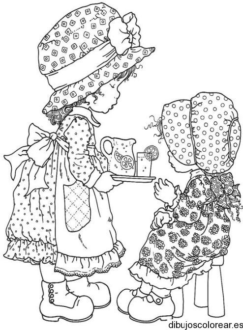 Dibujo De Dos Niñas Con Sombrero