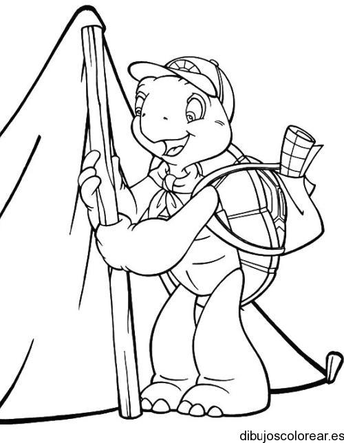 Dibujo de una niño haciendo la tarea