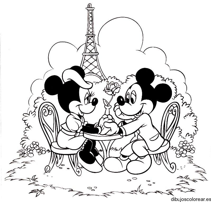 Dibujo de Mickey y Minnie de princesa