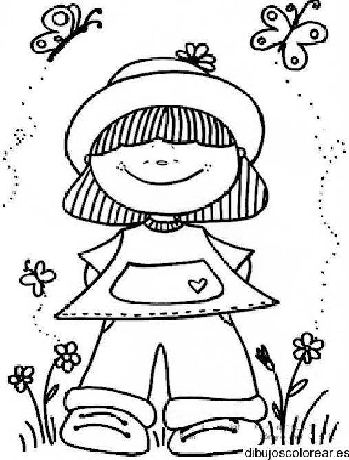 Dibujo de niña con sombrero y mariposas