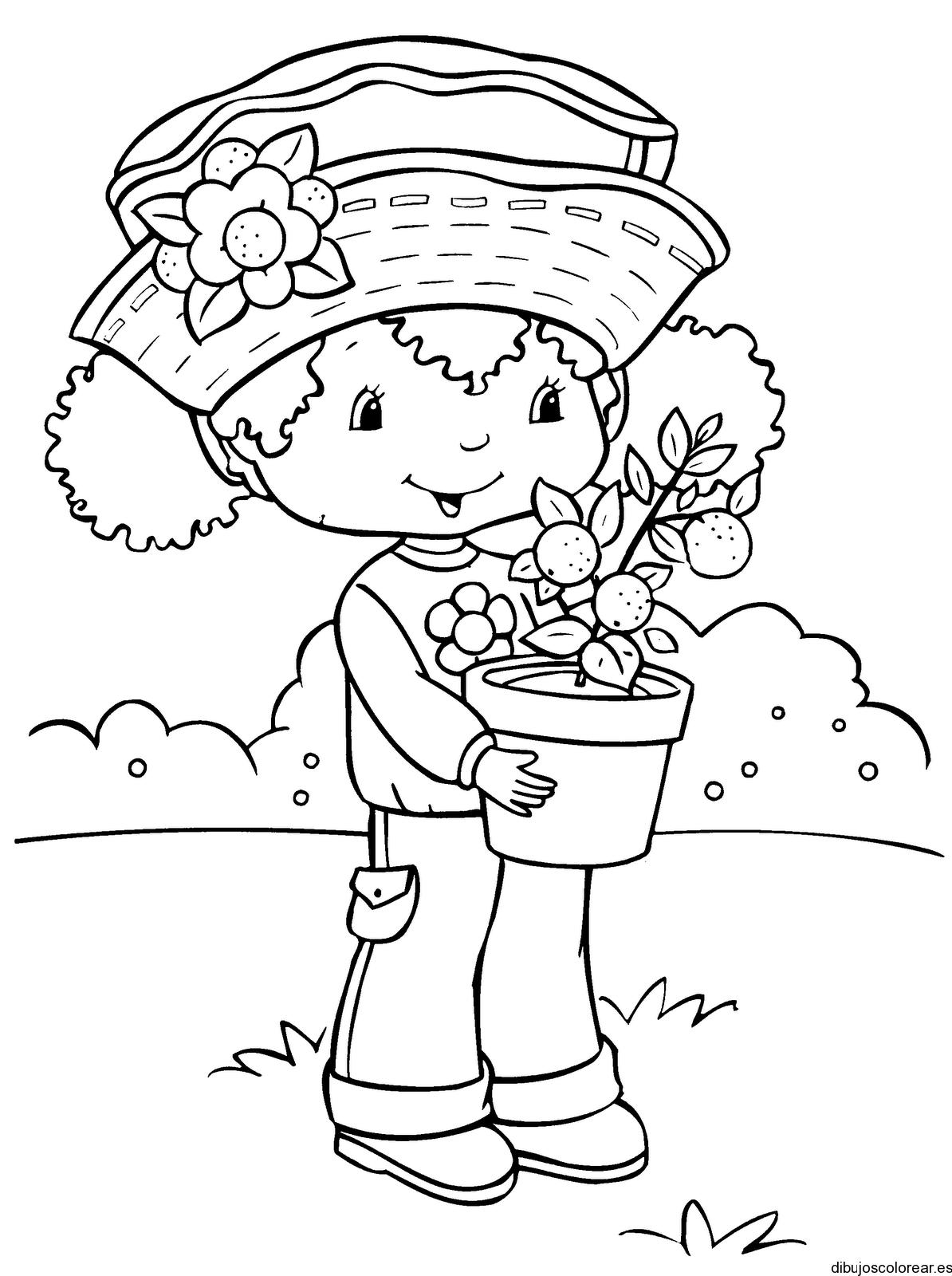 Dibujo de Fresita recogiendo fresas