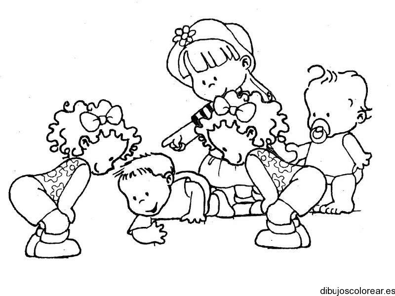 Dibujo De Un Bebé Y Niños