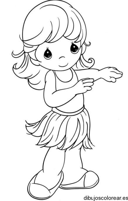 Dibujo De Una Nina Bailando Hawaiano