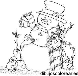 Dibujo De Muñeco De Nieve Con Escalera