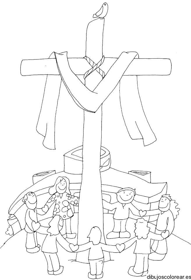Dibujo De Una Cruz Y Un Manto